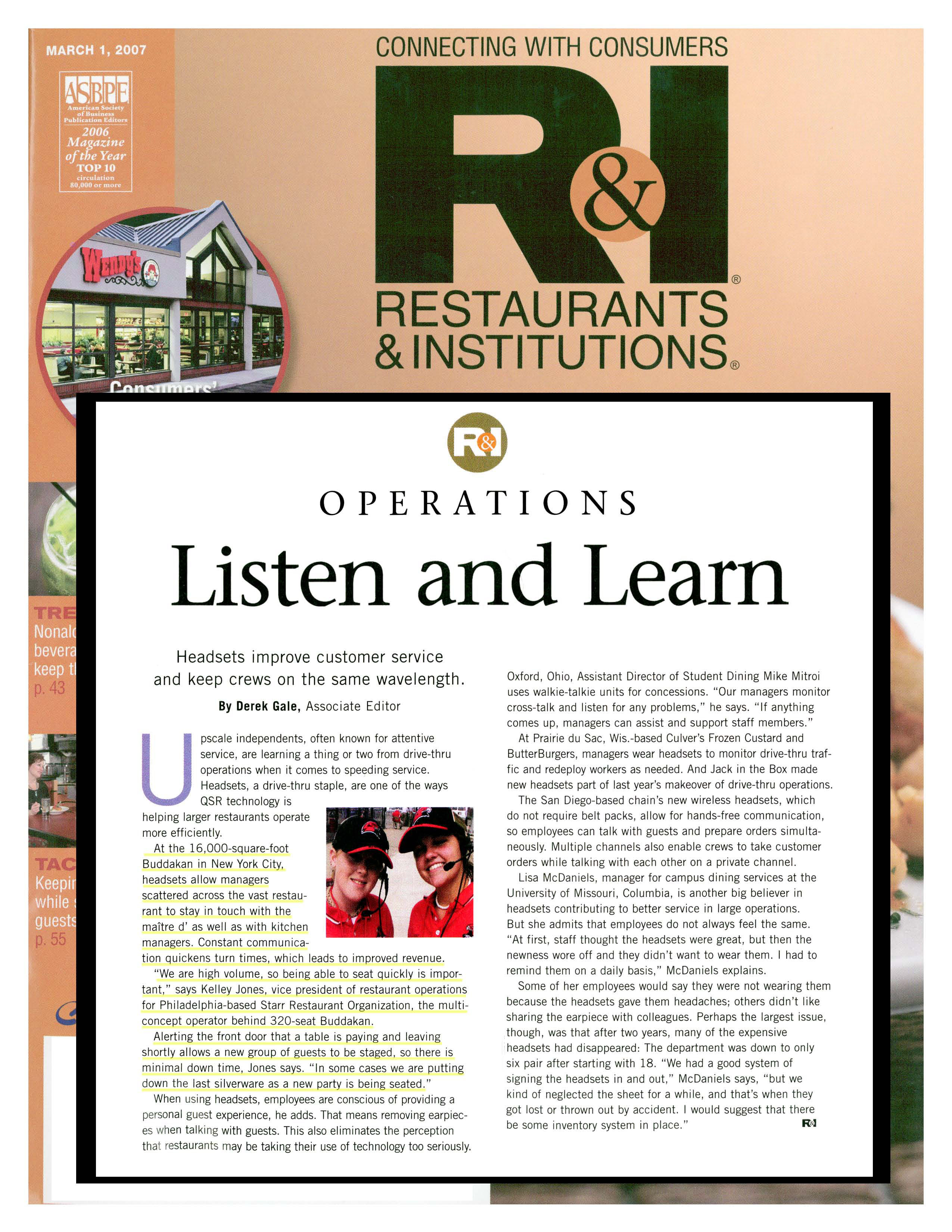 Restaurants and Institutions