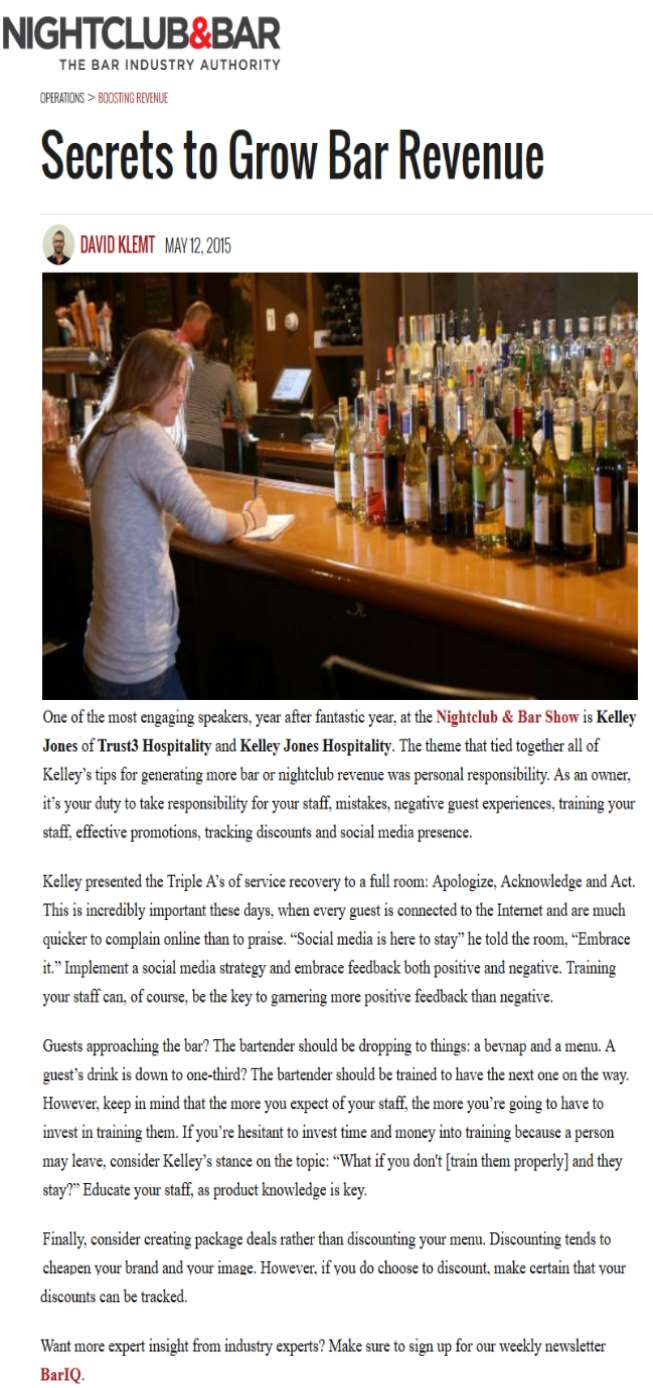 Kelley Jones Hospitality interview on growing bar business
